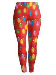 Christmas Ornate Printed Stretchy Leggings - RED