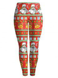 Elastic Waist Christmas Ornate Printed Leggings - RED