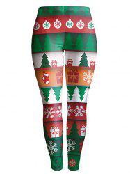 Christmas Tree Printed Stretchy Leggings - GREEN