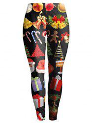 Christmas Ornate Printed Slimming Leggings - BLACK