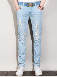 Light Wash Zip Fly Ripped Denim Jeans