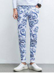 Ornate Print Five-Pocket Zipper Fly Tapered Jeans
