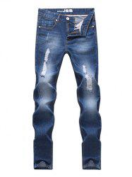 Pocket Rivet Zipper Fly Straight Leg Ripped Jeans -