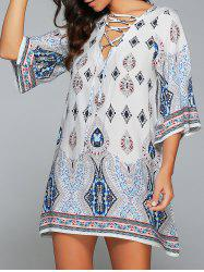 3/4 Sleeve Lace-Up Printed Dress