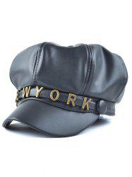 Casual Letter Shape Metal Button PU Newsboy Hat