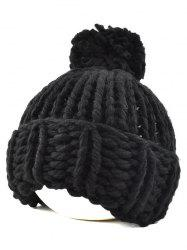 Casual Big Ball Flanging Coarser Knit Hat -