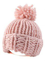Casual Big Ball Flanging Coarser Knit Hat