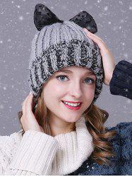 Warm Lace Bowknot Flanging Knitted Faux Wool Hat -