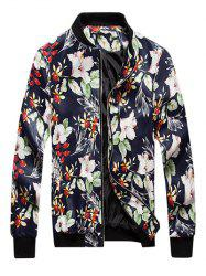 Floral Print Zip Up PU Leather Jacket
