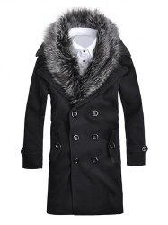 Fur Collar Button-tab Cuffs Wool Peacoat - BLACK