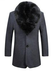 Detached Fur Collar Fleece Lined Single Breasted Coat -
