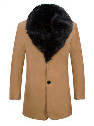 Detached Fur Collar Fleece Lined Single Breasted Coat - KHAKI
