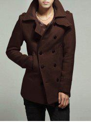 Half Back Belt Welt Pocket Peacoat - COFFEE