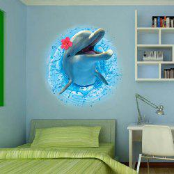 Amovible stéréo 3D Dolphin Leaping Out Les Stickers muraux design Sea - Bleu Ocu00e9an
