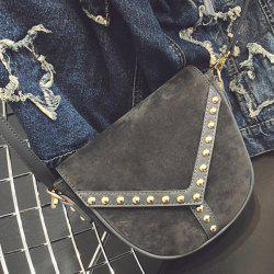 PU Spliced Faux Suede Rivet Crossbody Bag