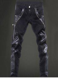Zippered Pocket Rivet Narrow Feet Leather Paneled Pants