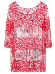 Hollow Out Smock Cover-Up - RED ONE SIZE