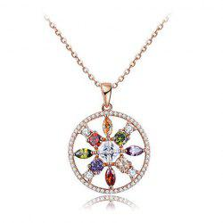 Faux Diamond Round Openwork Pendant Necklace