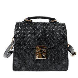 Metal Weave Pattern PU Leather Shoulder Bag -
