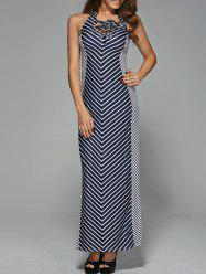Striped Maxi Prom Dress with Halter Neckline
