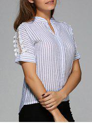 Openwork Striped High-Low Blouse