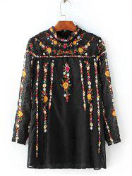 Ruffled Flowers Embroidered Spliced Blouse