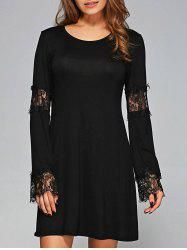 Lace Cuffs Openwork Long Sleeves Dress