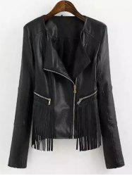Fringed Faux Leather Biker Jacket - BLACK