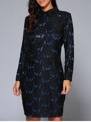 Long Sleeve Collared Lace Pencil Bodycon Dress -