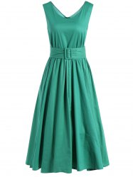 Fit and Flare Belted Vintage Dress -