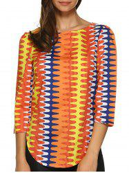 Rounded Hem Striped Colourful  Top -