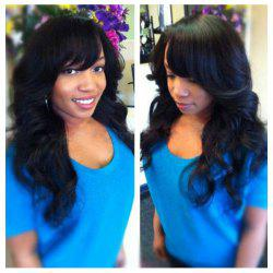 Stunning Long Wavy Side Bang Human Hair Capless Wig