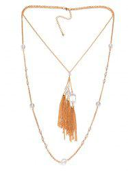 Faux Crystal Layered Fringe Bolo Sweater Chain -