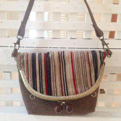 Woolen Cloth Striped Crossbody Bag