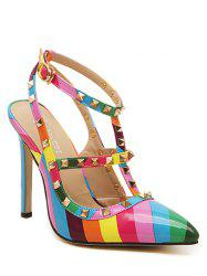 Colour Block Striped Pattern Rivets Pumps - COLORMIX
