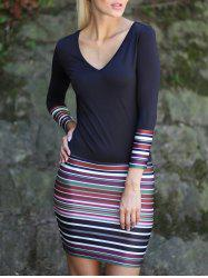 V-Neck Long Sleeve Stripe Color Block Dress