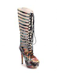 Hollow Out Tie Up Building Print Boots - COLORMIX