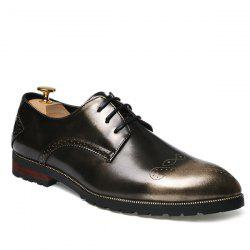 Tie Up Engraving Pointed Toe Formal Shoes - GOLDEN 42