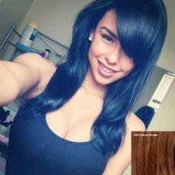 Superbe long Straight Side Natural Bang Cheveux capless perruque -