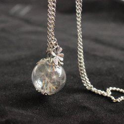 Glass Ball Dandelion Clover Necklace