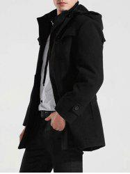 Button-tab Cuffs Hooded Belted Coat