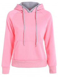 Popular Double Hooded Drawstring Hoodie - PINK