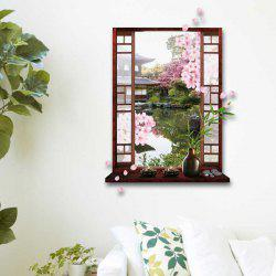 Removable 3D Stereo Peach Flower Garden Window Design Wall Stickers - GREEN