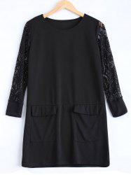 Plus Size Lace Patched Dress