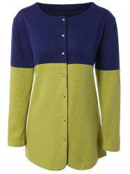 Button-Down Contrast Color Spliced Cardigan -