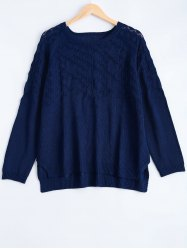 Textured Side Slit Asymmetric Sweater - DEEP BLUE