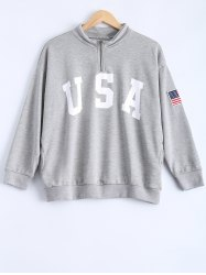 Loose Letter and Flag Applique Zipper Sweatshirt - GRAY