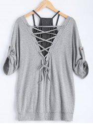 Stylish Scoop Neck Half Sleeve Hollow Out Front Lace-Up T-Shirt + Solid Color Tank Top Women's Twinset - GRAY XL