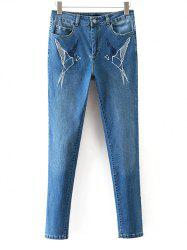 Skinny Embroidered Mid Rise Jeans -