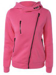 Inclined Zipper Buttoned Hoodie - ROSE MADDER L